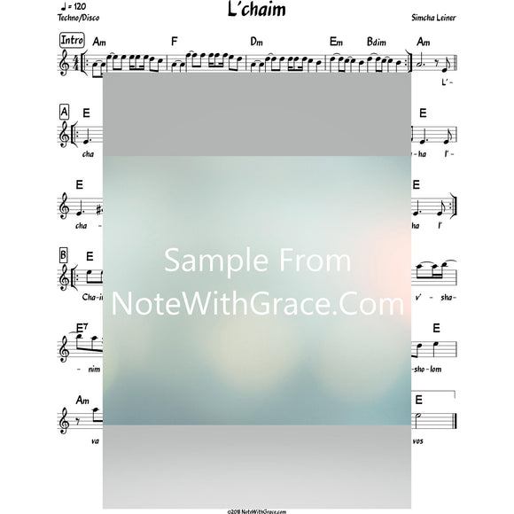 L'chaim Lead Sheet (Simchah Leiner) Album: Merakeid 2017-Sheet music-NoteWithGrace.com