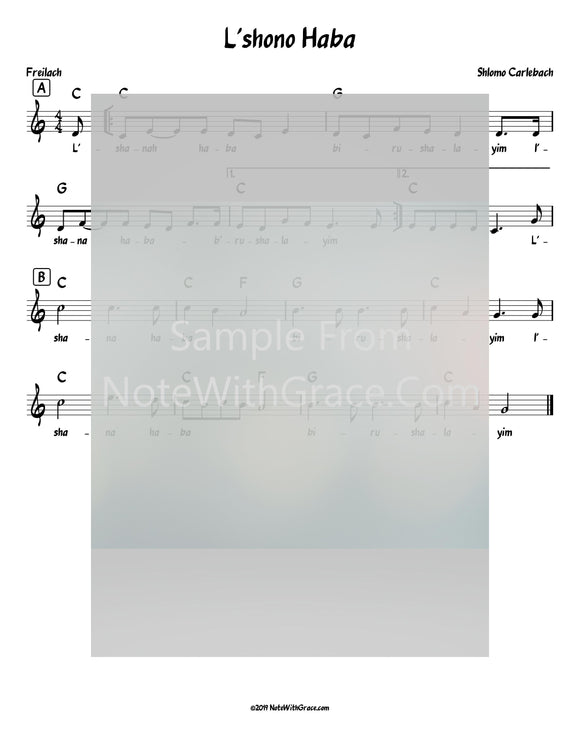 L'shono Ha'baah Lead Sheet (Shlomo Carlebach)-Sheet music-NoteWithGrace.com
