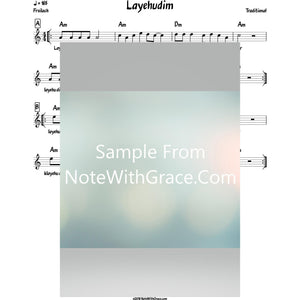 Layehudim Lead Sheet (Traditional) Purim-Sheet music-NoteWithGrace.com