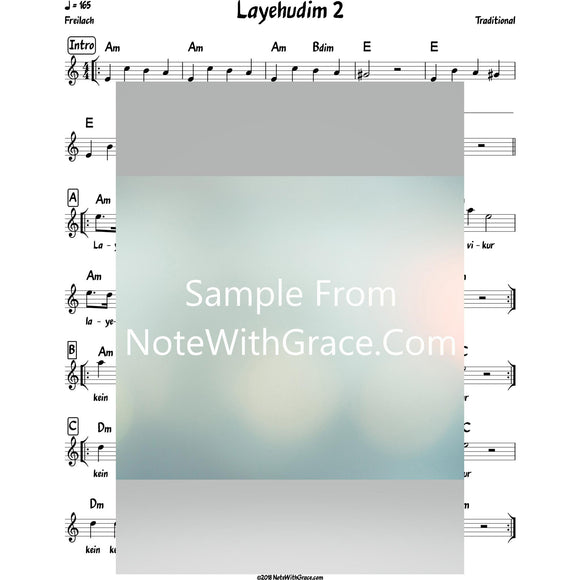 Layehudim 2 Lead Sheet (Traditional) Purim-Sheet music-NoteWithGrace.com