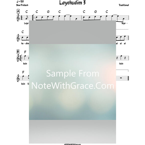 Layehudim 3 Lead Sheet (Traditional) Purim-Sheet music-NoteWithGrace.com