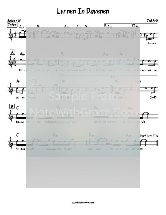 Lernen In Davenen Lead Sheet (Yoel Roth) Single Released 2014-Sheet music-NoteWithGrace.com