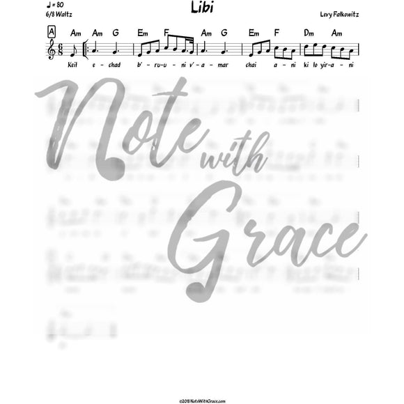 Libi Lead Sheet (Levy Falkowitz) Album: Toiv Lee-Sheet music-NoteWithGrace.com