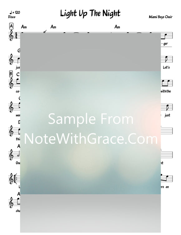 Light Up The Night Lead Sheet (Yerachmiel Begun/Miami Boys Choir)-Sheet music-NoteWithGrace.com