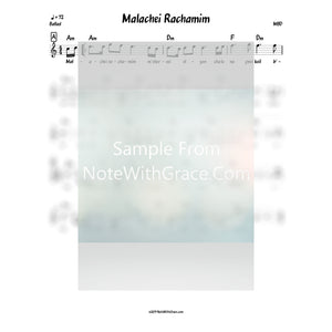 Malachei Rachamim Lead Sheet (MBD) Album: Hu Levado (2010)-Sheet music-NoteWithGrace.com