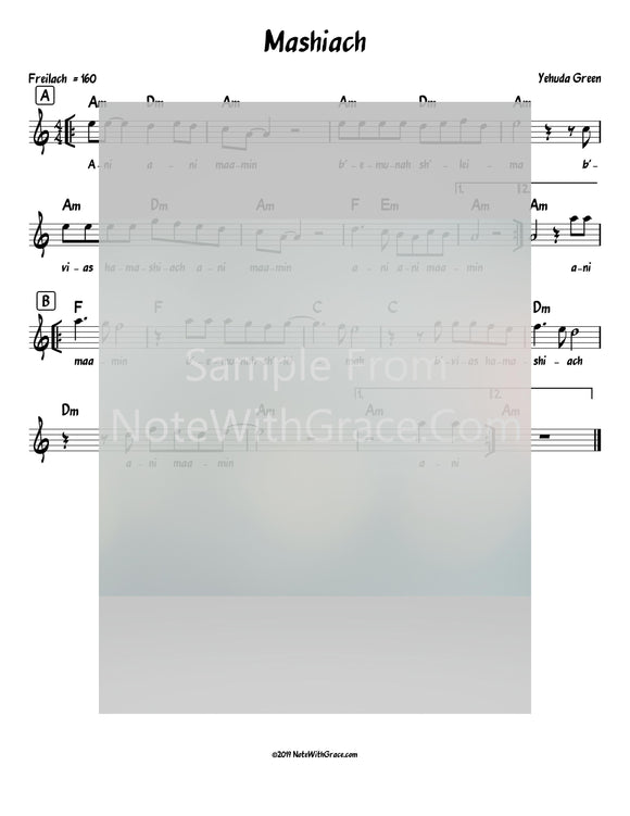 Mashiach - Ani Maamin Lead Sheet (Yehuda Green) Album: Neshamale 2018-Sheet music-NoteWithGrace.com