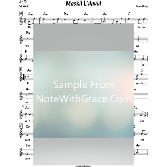 Maskil L'dovid Lead Sheet (Isaac Honig)-Sheet music-NoteWithGrace.com