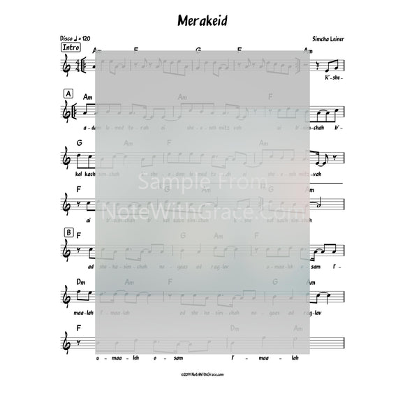Merakeid Lead Sheet (Simchah Leiner) Album: Merakeid 2017-Sheet music-NoteWithGrace.com