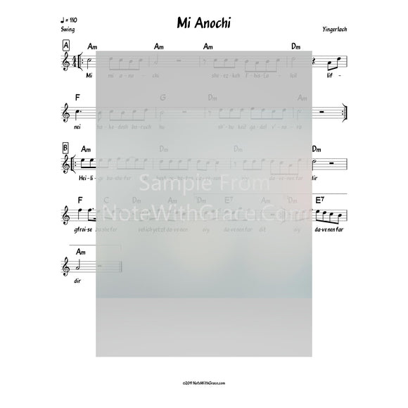 Mi Anochi - Davenen Lead Sheet (Yingerlach) Album: Yingerlich Released 2018-Sheet music-NoteWithGrace.com