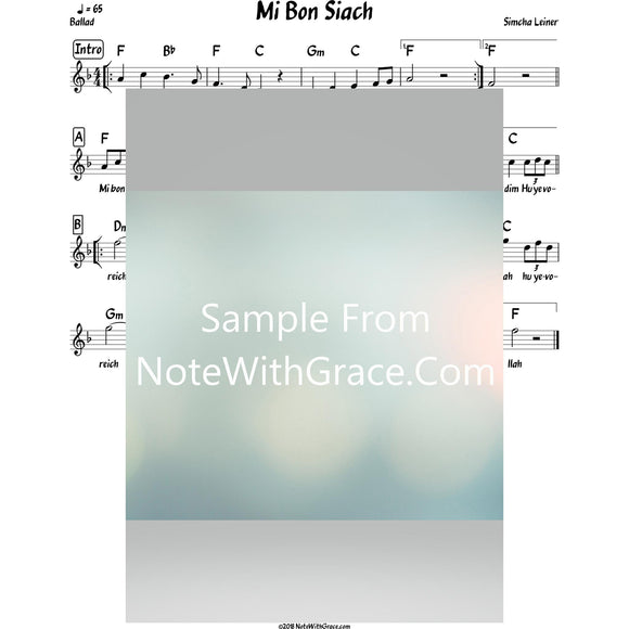 Mi Bon Siach Lead Sheet (Simchah Leiner) Album: Merakeid-Sheet music-NoteWithGrace.com