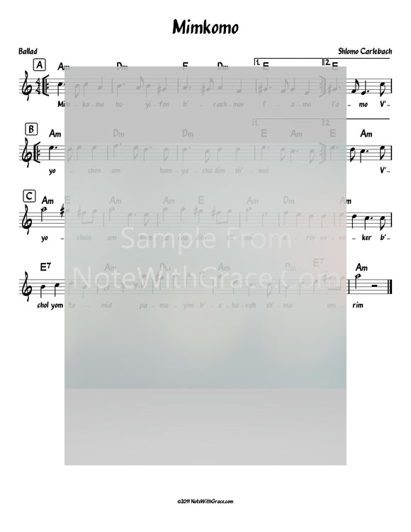 Mimkomo Lead Sheet (Shlomo Carlbach)-Sheet music-NoteWithGrace.com