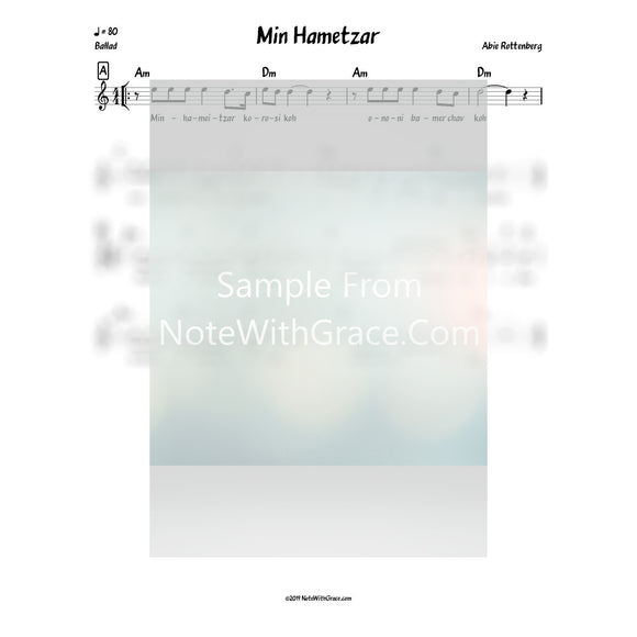 Min Hametzar Lead Sheet (Abie Rottenberg) Album: D'veikus 6 Released: 2010-Sheet music-NoteWithGrace.com