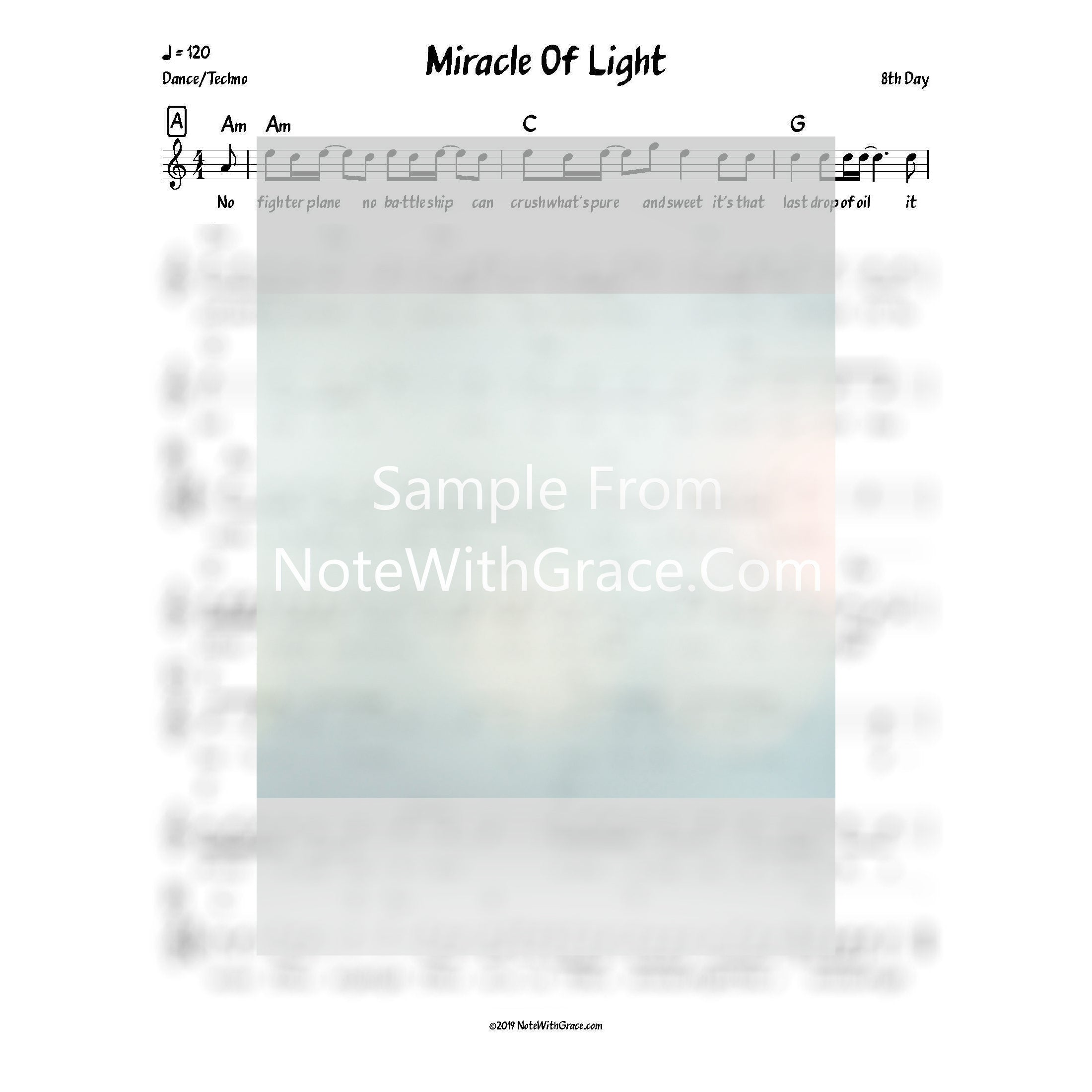 Miracle Of Light Lead Sheet (8th day) Single Miracle Of Light 2017-Sheet music-NoteWithGrace.com