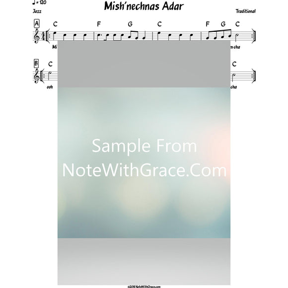 Mishenechnas Adar Lead Sheet (Traditional) Purim-Sheet music-NoteWithGrace.com