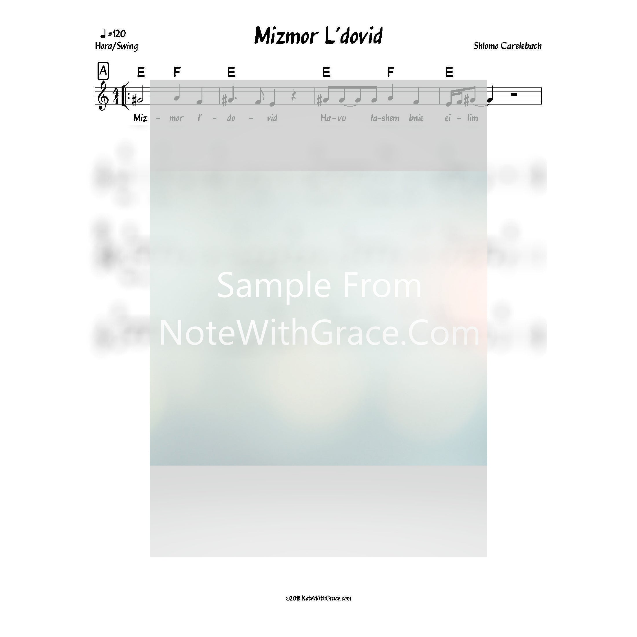 Mizmor L'dovid Lead Sheet (Shlomo Carlbach)-Sheet music-NoteWithGrace.com