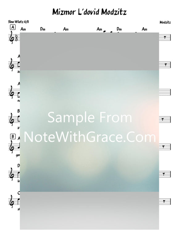 Mizmor L'dovid - מזמור לדוד Lead Sheet (Modzitz) Traditionaly Sung By Third Shabbos Meal-Sheet music-NoteWithGrace.com