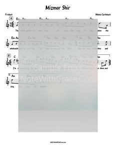 Mizmor Shir / The Whole World Is Waiting Lead Sheet (Shlomo Carlebach)-Sheet music-NoteWithGrace.com
