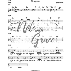 Neshama Lead Sheet (Shloimy Gertner) Album: Minchah Released 2017-Sheet music-NoteWithGrace.com
