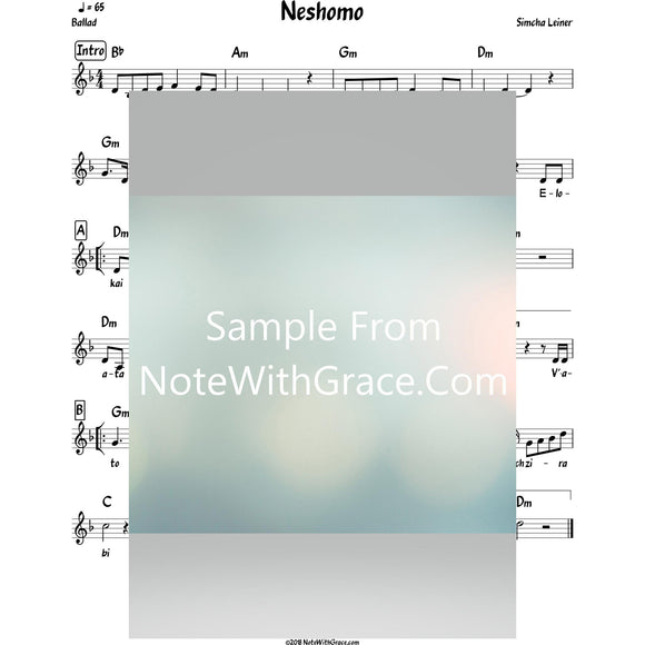 Neshomo Lead Sheet (Simchah Leiner) Album: Merakeid-Sheet music-NoteWithGrace.com