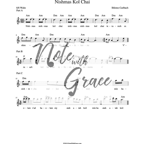 Nishmas Kol Chai Lead Sheet (Shlomo Carlbach)-Sheet music-NoteWithGrace.com