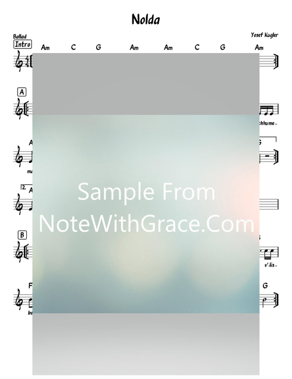 Nolda - נולדה Lead Sheet (Yosef Kugler) Single 2018-Sheet music-NoteWithGrace.com