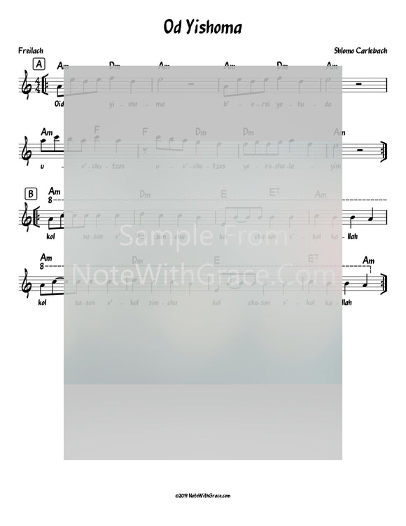 Oid Yishoma Lead Sheet (Shlomo Carlbach)-Sheet music-NoteWithGrace.com