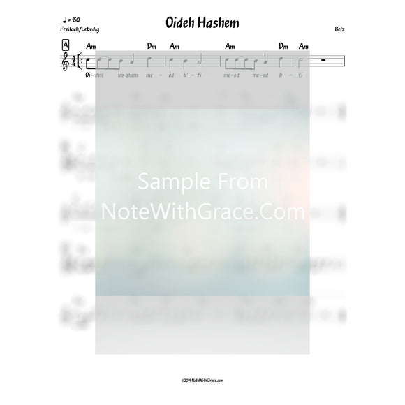 Oideh Hashem Lead Sheet (Belz)-Sheet music-NoteWithGrace.com