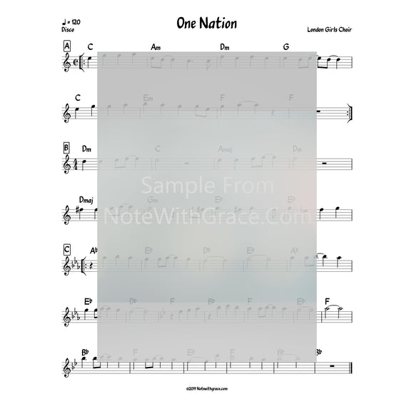 One Nation Lead Sheet (London Girls Choir) Album: Silver Lining 2014-Sheet music-NoteWithGrace.com
