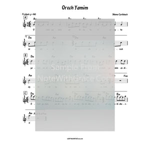 Orech Yamim Lead Sheet (Shlomo Carlbach) Album: Nachamu Ami-Sheet music-NoteWithGrace.com