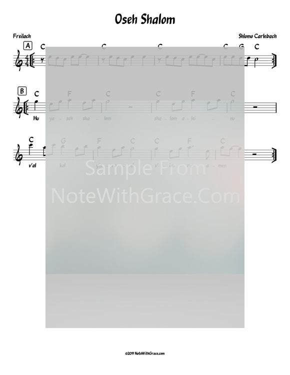 Oseh Shalom Lead Sheet (Shlomo Carlbach)-Sheet music-NoteWithGrace.com