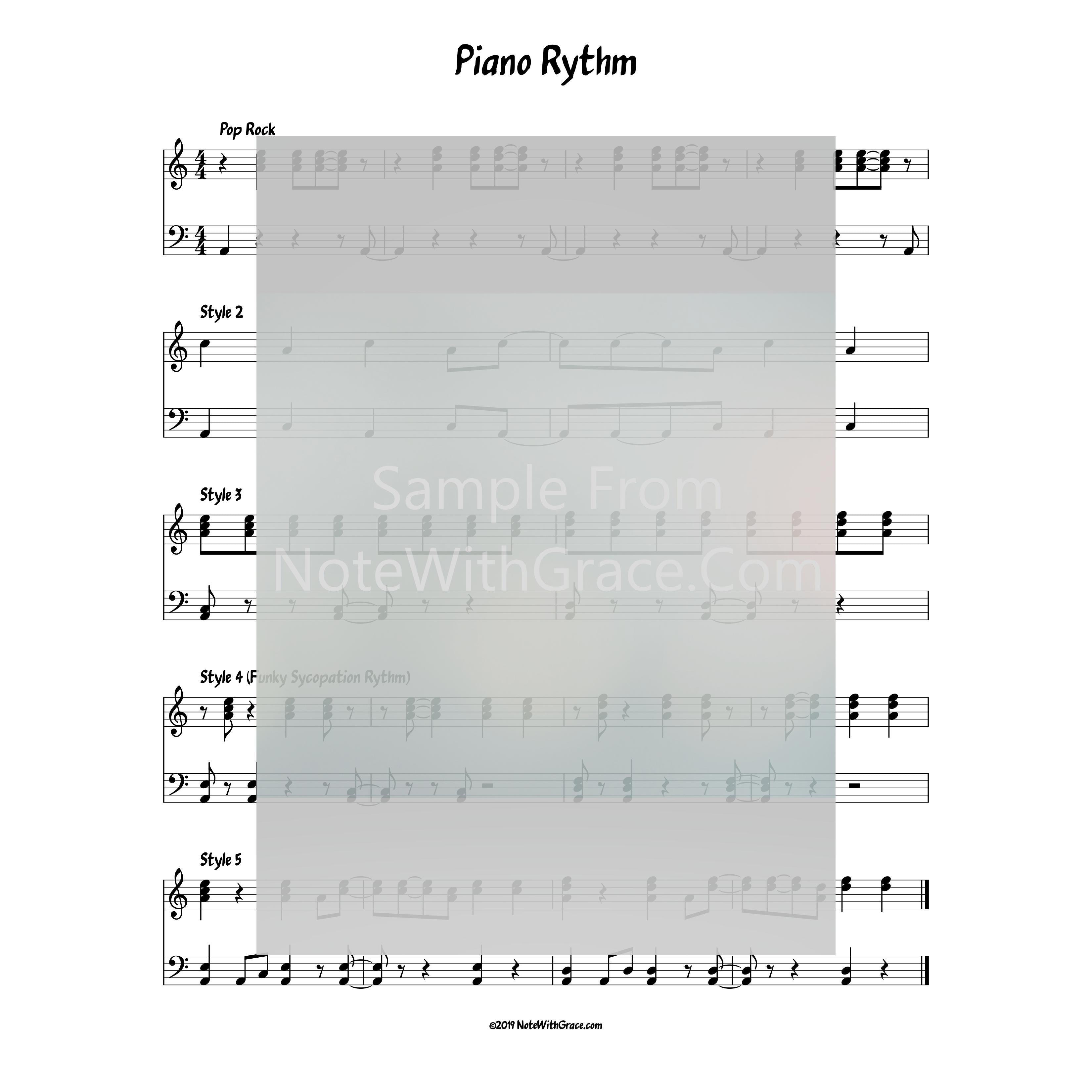5 Beautiful Funky Piano Rhythms for Full Piano Score-Sheet music-NoteWithGrace.com