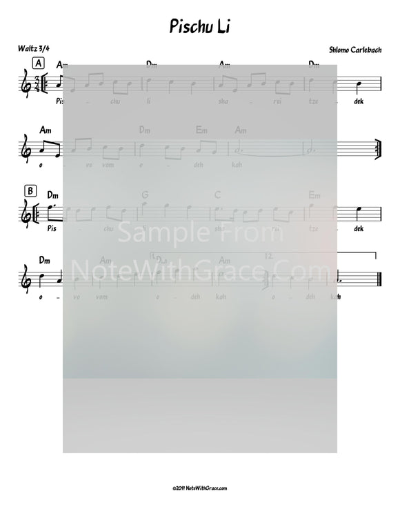 Pischu Li Lead Sheet (Shlomo Carlbach)-Sheet music-NoteWithGrace.com