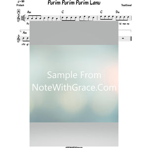 Purim Purim Purim Lanu Lead Sheet (Traditional) Purim-Sheet music-NoteWithGrace.com