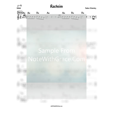 Racheim Lead Sheet (Yaakov Schwekey)-Sheet music-NoteWithGrace.com