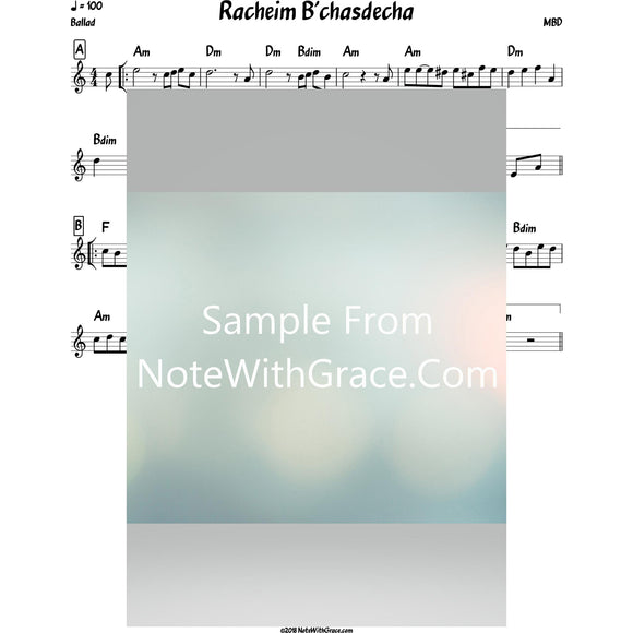 Racheim B'chasdecha Lead Sheet (MBD) Album Solid MBD-Sheet music-NoteWithGrace.com