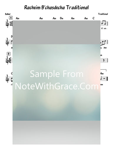 Racheim B'chasdecha - רחם בחסדך Lead Sheet (Traditional) Shabbos-Sheet music-NoteWithGrace.com