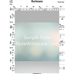 Rachmana Lead Sheet (Shmueli Ungar) Album: Shmueli 2-Sheet music-NoteWithGrace.com