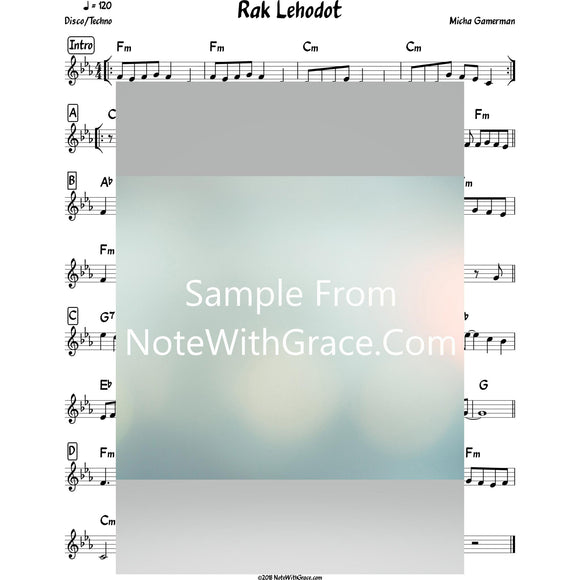 Rak Lehodot Lead Sheet (Micha Gamerman) Album: A Child of Hashem-Sheet music-NoteWithGrace.com