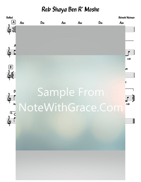Reb Shaya Ben R' Moshe - ר' ישׁעי' בן ר' משׁה Lead Sheet (Shimshi Neiman) Single 2020-Sheet music-NoteWithGrace.com