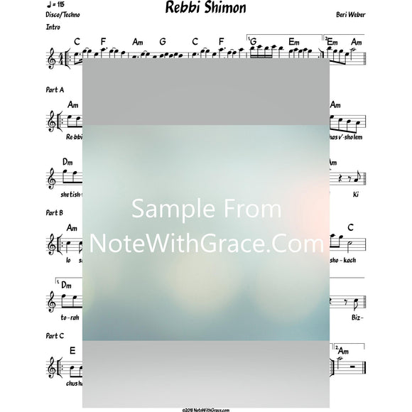Rebbi Shimon Lead Sheet (Beri Weber) Album: One Heart-Sheet music-NoteWithGrace.com