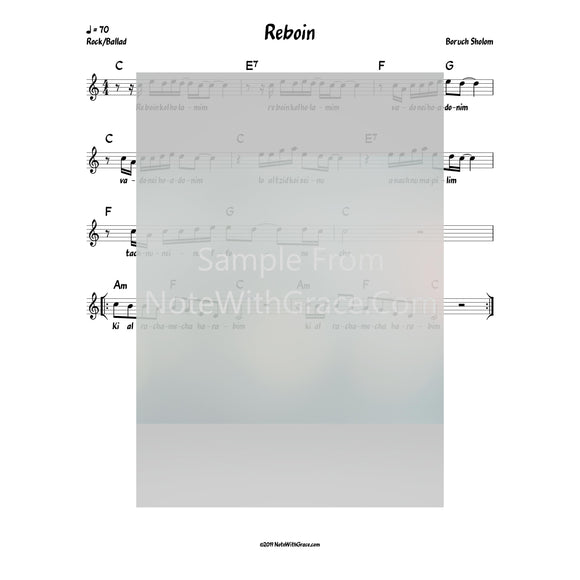 Reboin Lead Sheet (Boruch Sholom) Album: Hineni 2018-Sheet music-NoteWithGrace.com