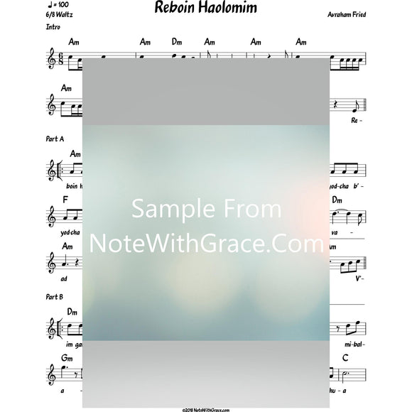 Reboin Haolomim Lead Sheet (Avraham Fried)-Sheet music-NoteWithGrace.com