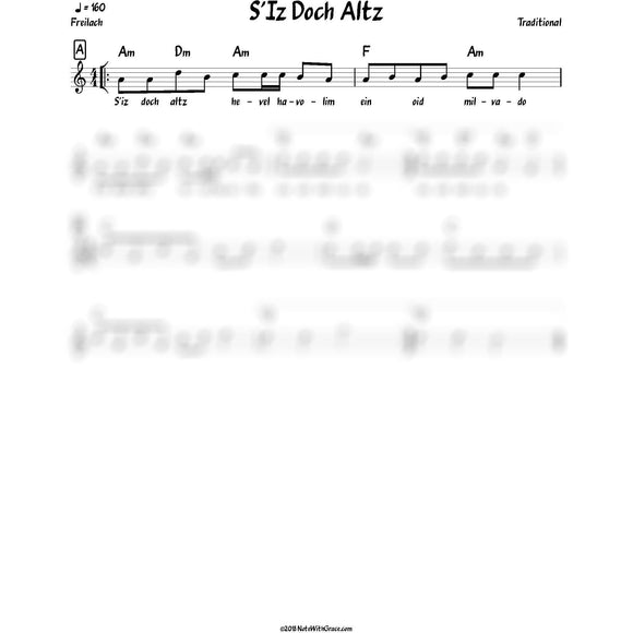 S'iz Doch Altz Hevel Havolim Lead Sheet (Traditional)-Sheet music-NoteWithGrace.com