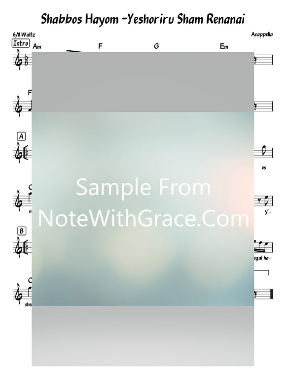 Shabbos Hayom - Yeshoreru Sham Renanai Lead Sheet (Acappella) Album: Kumzitz In The Rain 4 - Junior-Sheet music-NoteWithGrace.com