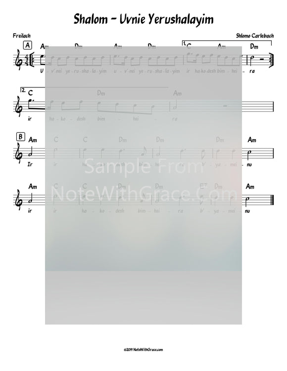 Uvnei Yerushalayim - Shalom Lead Sheet (Shlomo Carlebach)-Sheet music-NoteWithGrace.com