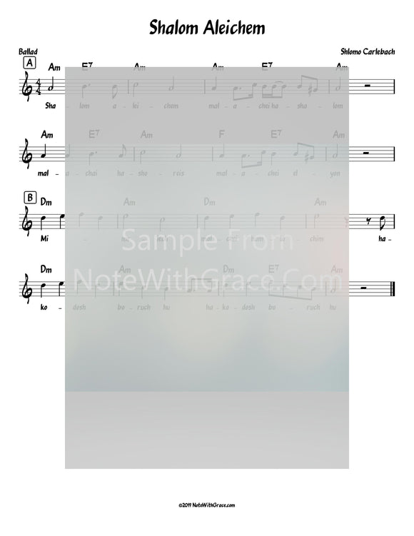 Shalom Aleichem Lead Sheet (Shlomo Carlebach)-Sheet music-NoteWithGrace.com