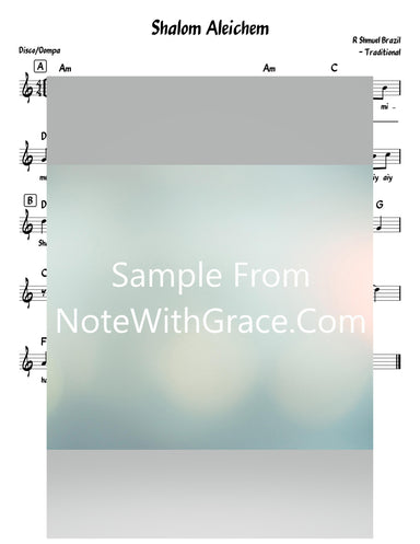Shalom Aleichem - שלום עליכם Lead Sheet (Rabbi Shmuel Brazil - Traditional)-Sheet music-NoteWithGrace.com