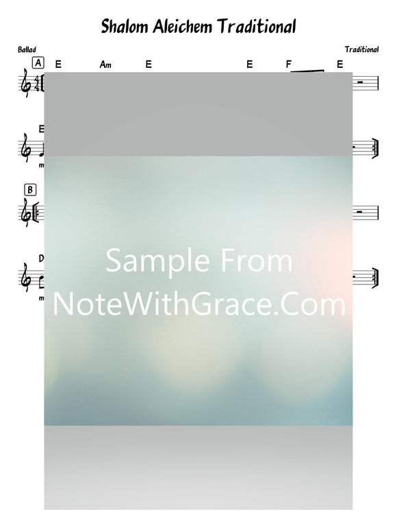 Shalom Aleichem - שלום עליכם Traditional Lead Sheet (Traditional - World)-Sheet music-NoteWithGrace.com