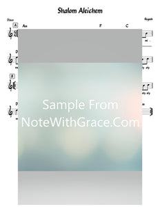 Shalom Aleichem שלום עליכם Lead Sheet (Abish Brodt) Album: Regesh 3 Shabbos-Sheet music-NoteWithGrace.com