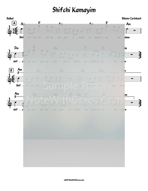 Shifchi Kamayim Lead Sheet (Shlomo Carlbach)-Sheet music-NoteWithGrace.com